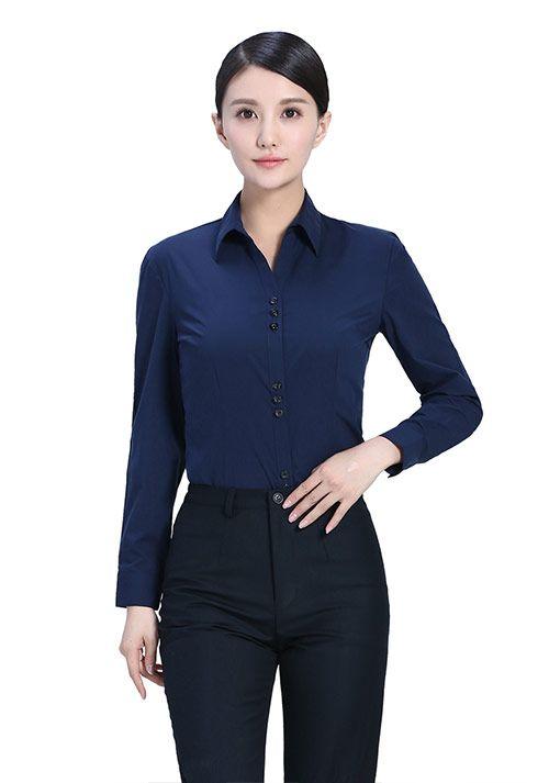 藏蓝纯棉衬衫